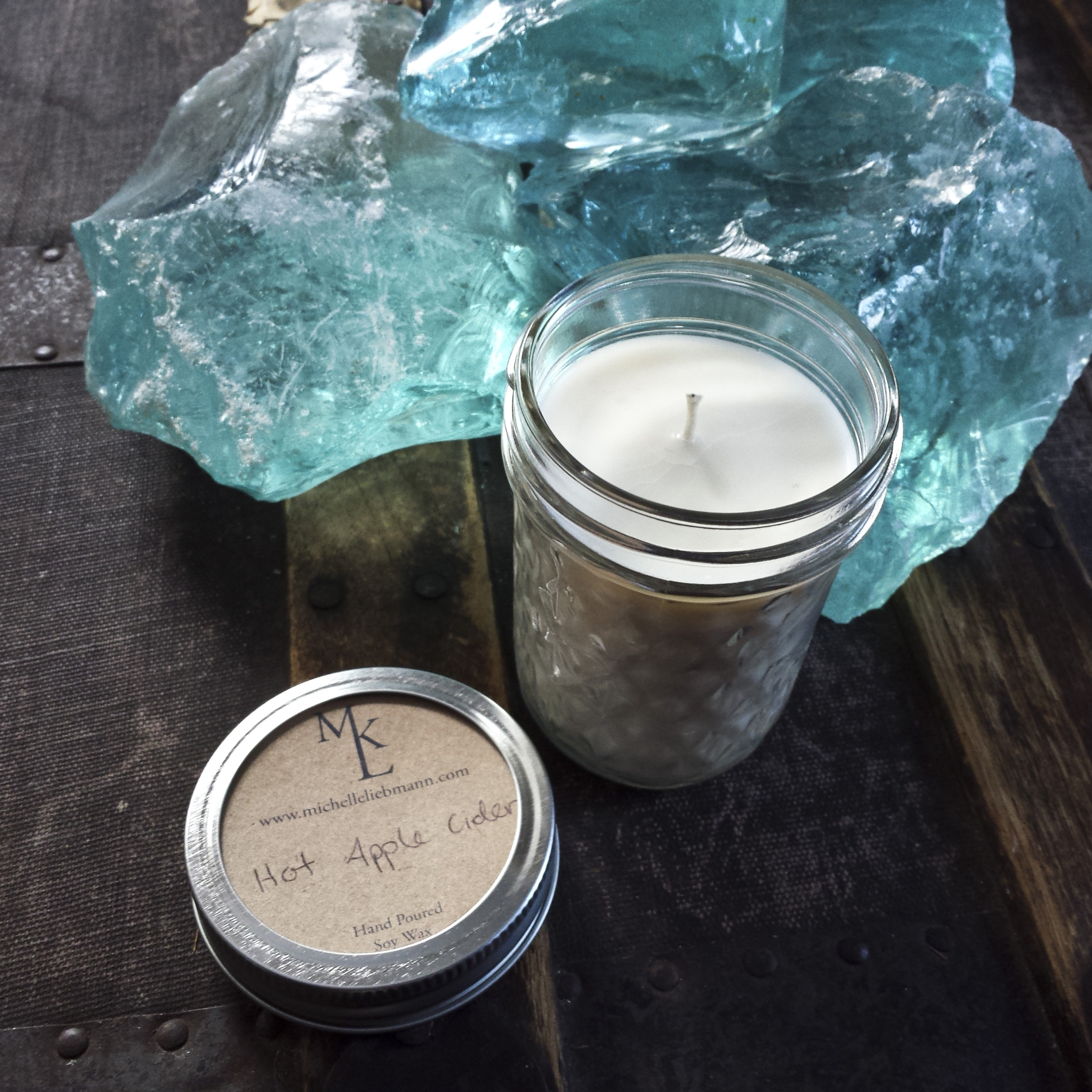 Hand Poured Natural Soy Wax Candle – Hot Apple Cider – $11