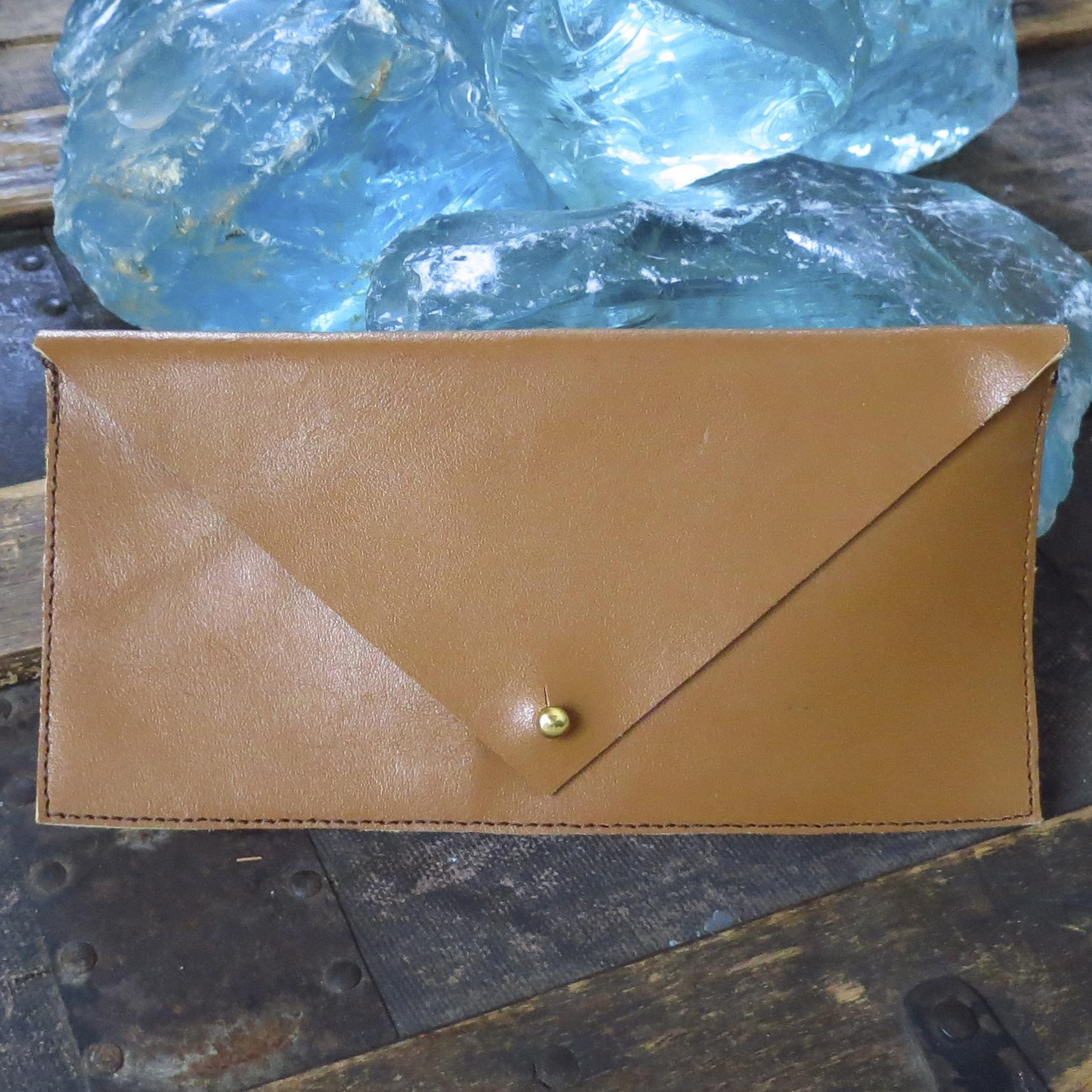 Leather Envelope Clutch – Camel – $45