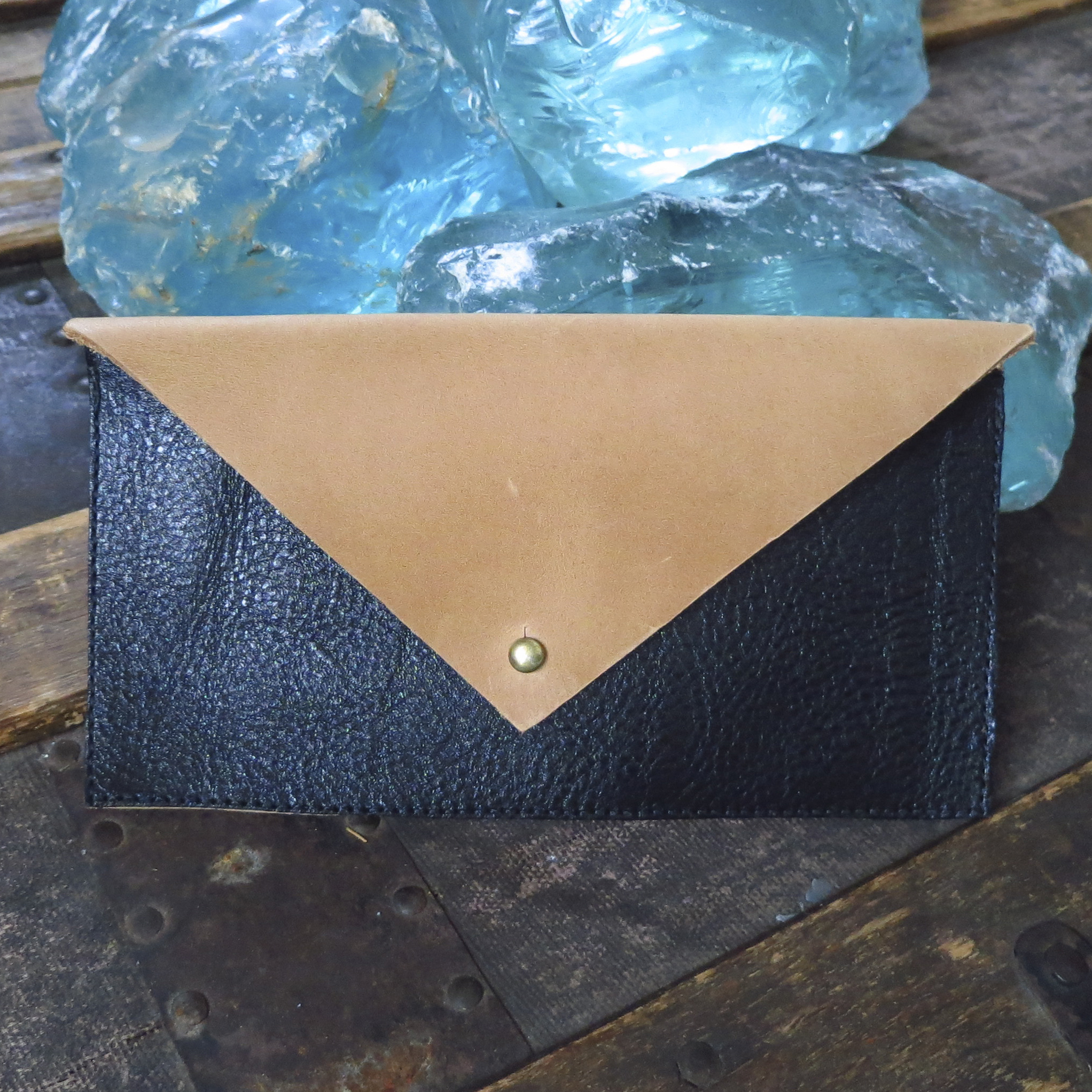 Leather Envelope Clutch – Black and Camel – $40