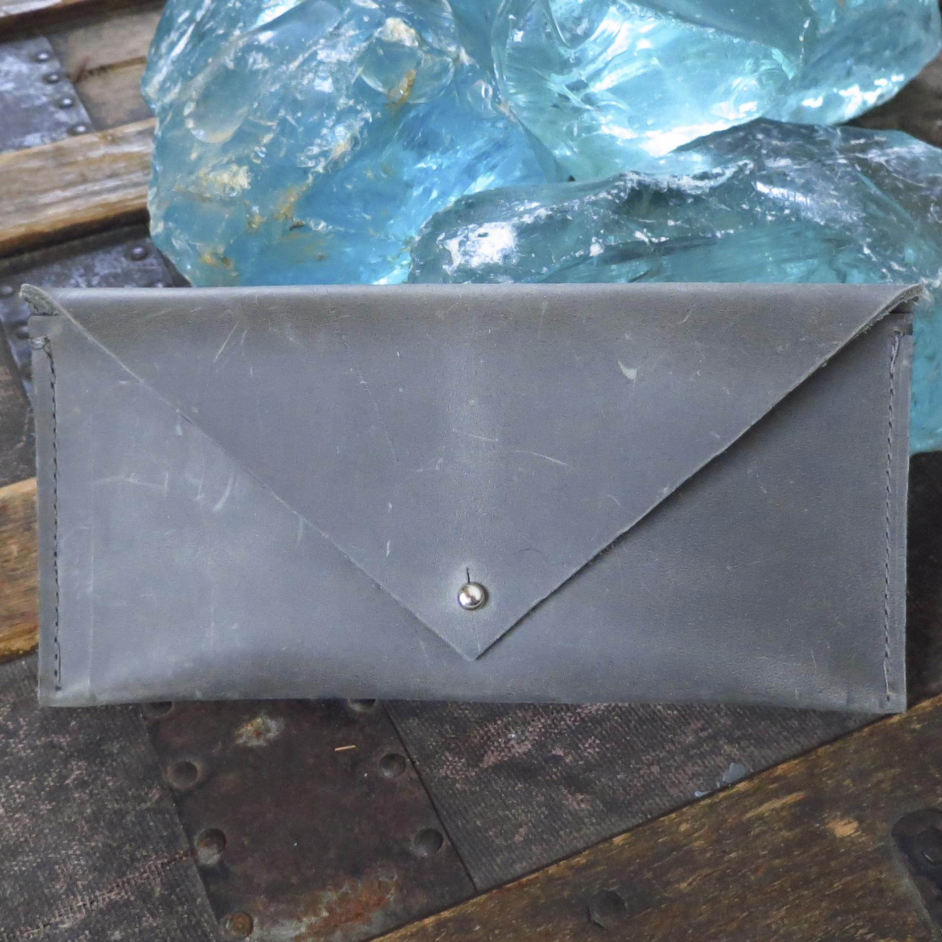 Leather Envelope Clutch – Dark Grey – $45
