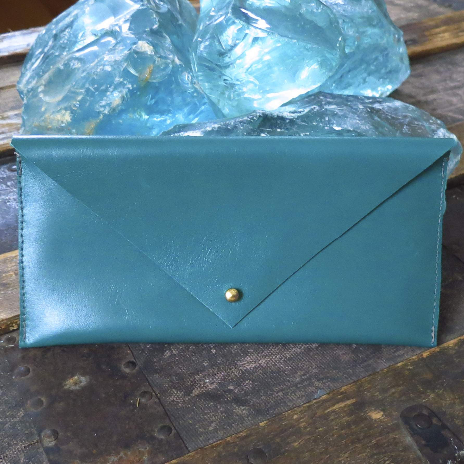 Leather Envelope Clutch – Deep Teal – $45