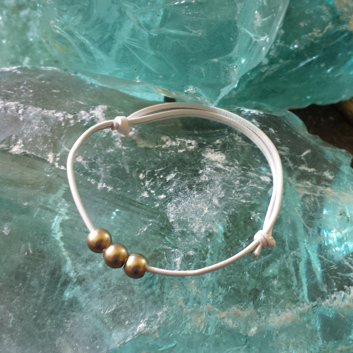 Stacking Bracelet – Light Gold Beads – $10