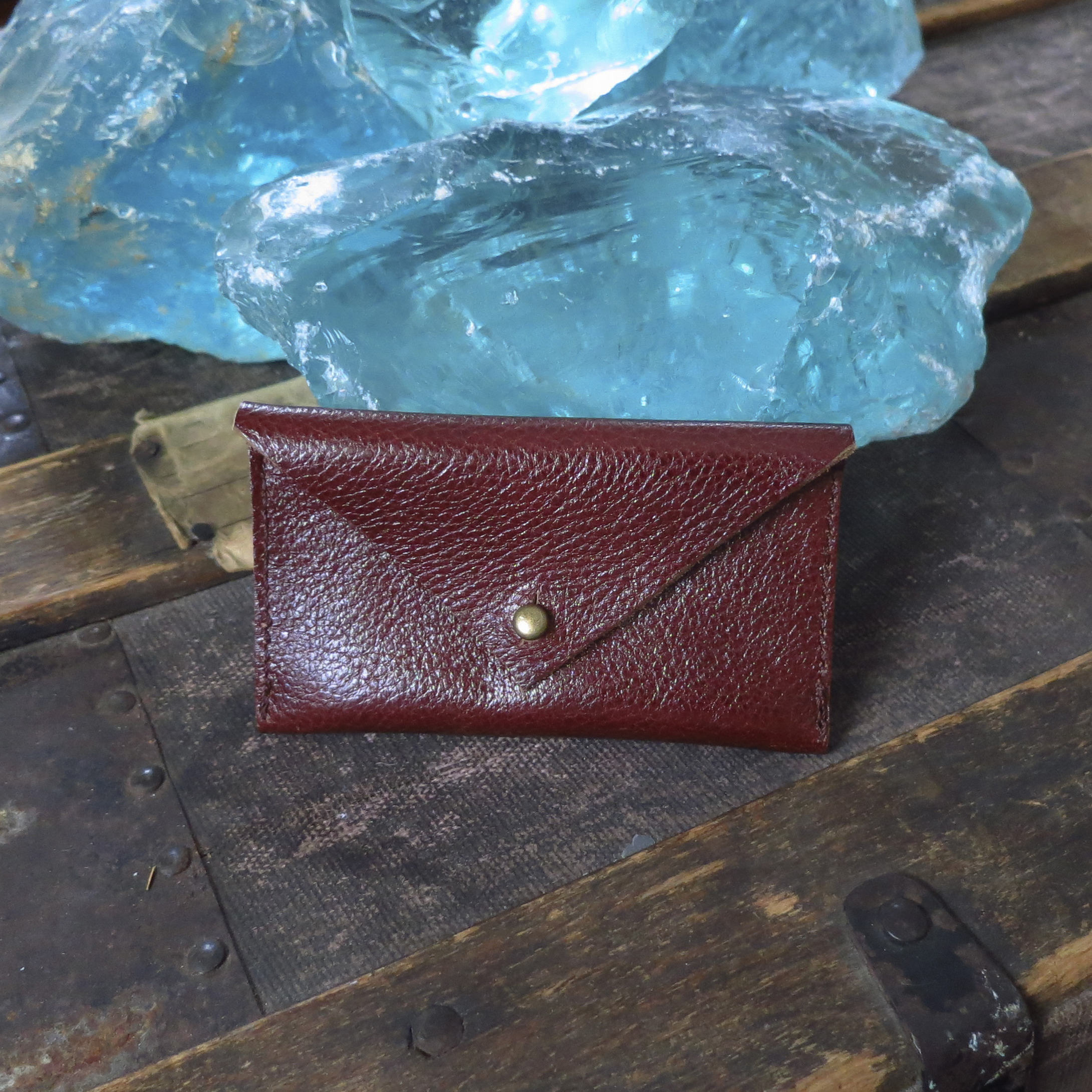 Leather Envelope Business Card Case – Oxblood – $25