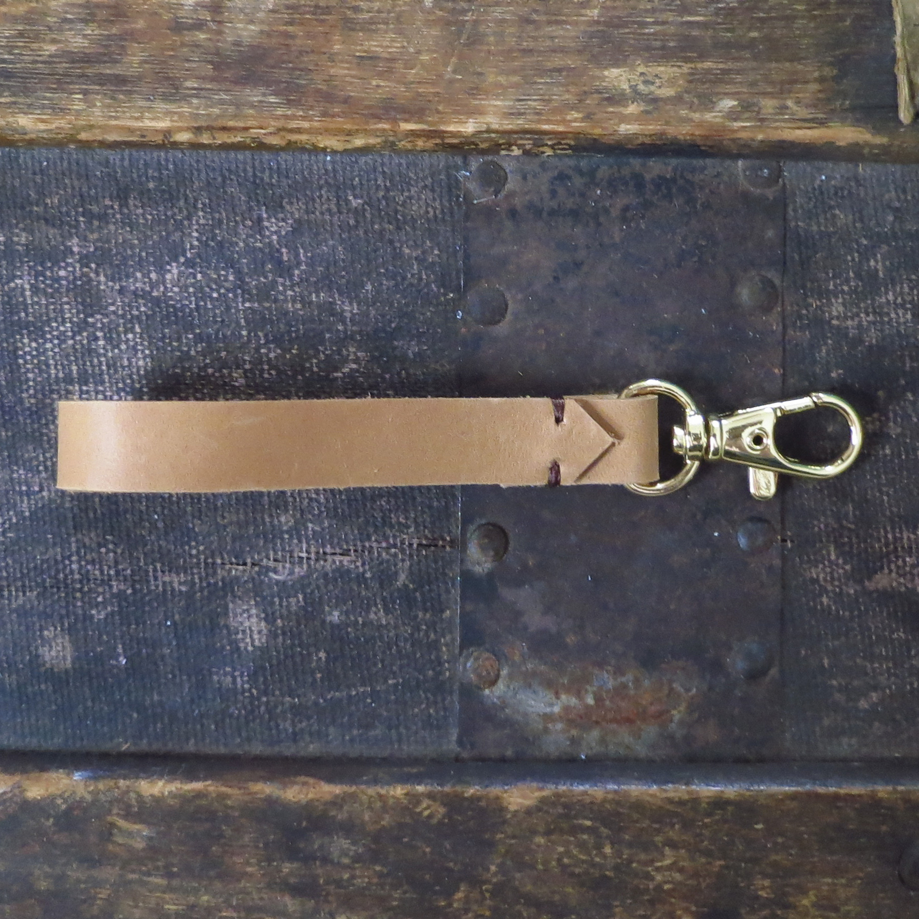 Leather Key Clip – Camel – $15