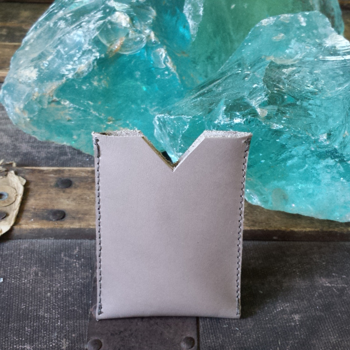 Leather Card Case – Grey – $25