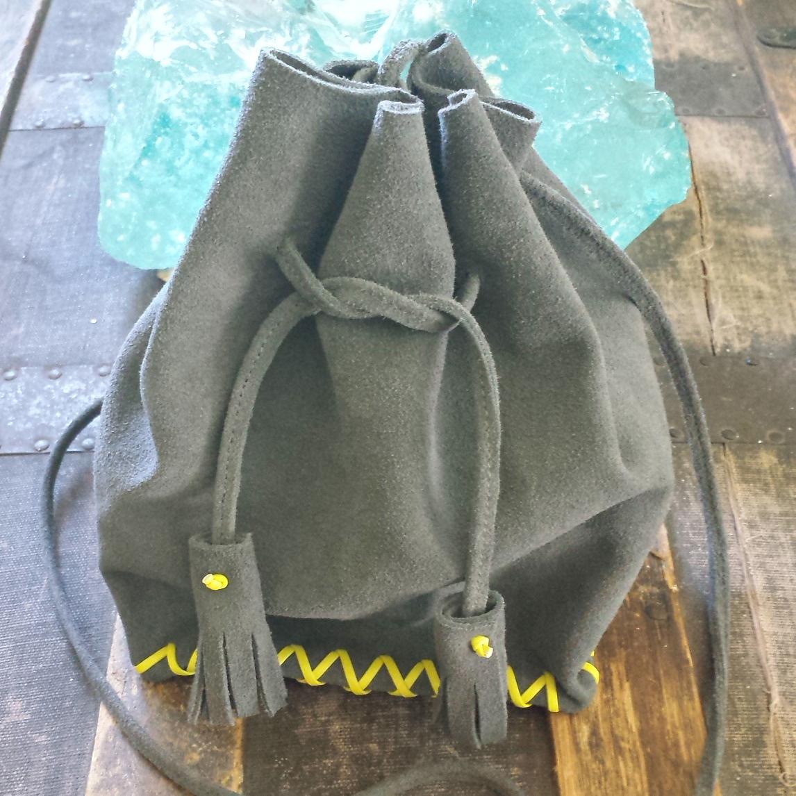 Mini Drawstring Bag – Dark Grey – $115