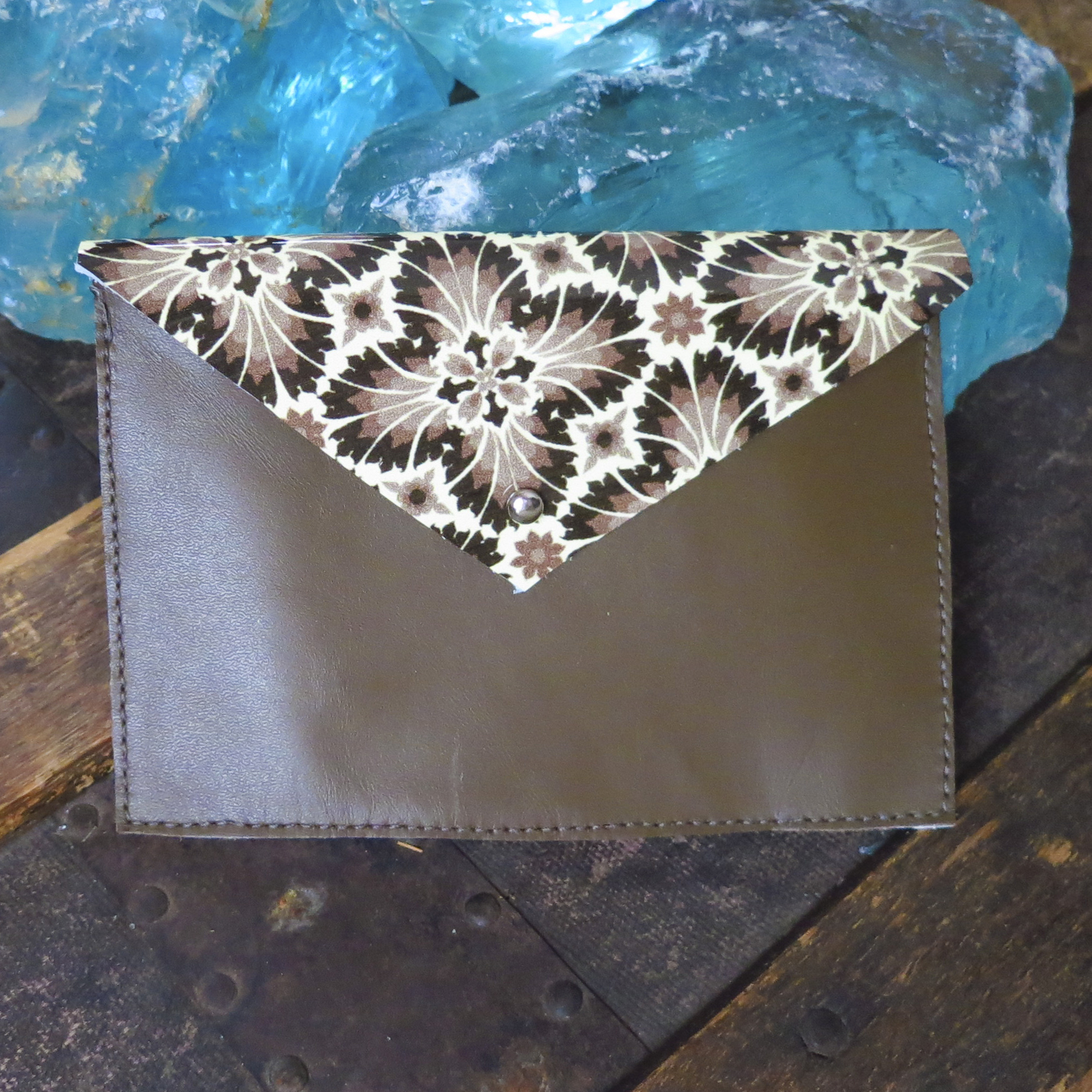 Leather Envelope Clutch – Mocha and Printed Patent – $35
