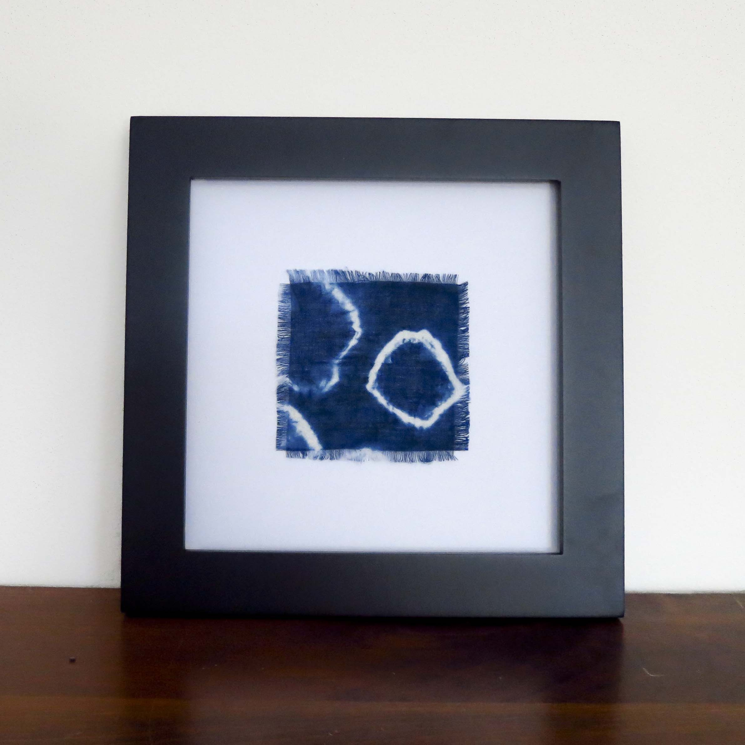 Framed Shibori Hand Dyed Linen Swatch – $35