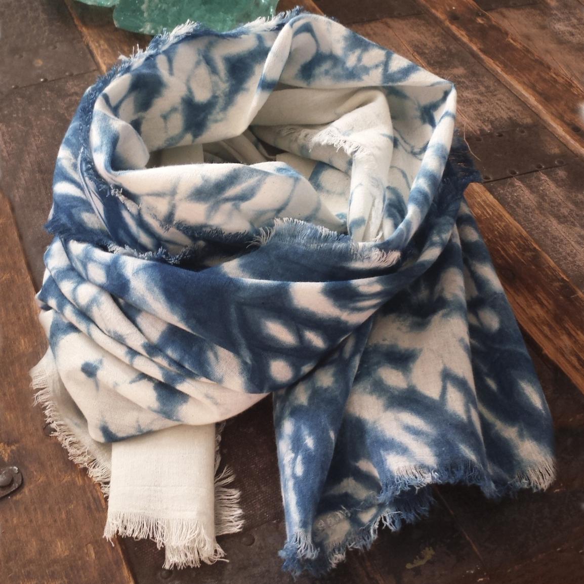Hand Dyed Linen Scarf – Indigo – $65