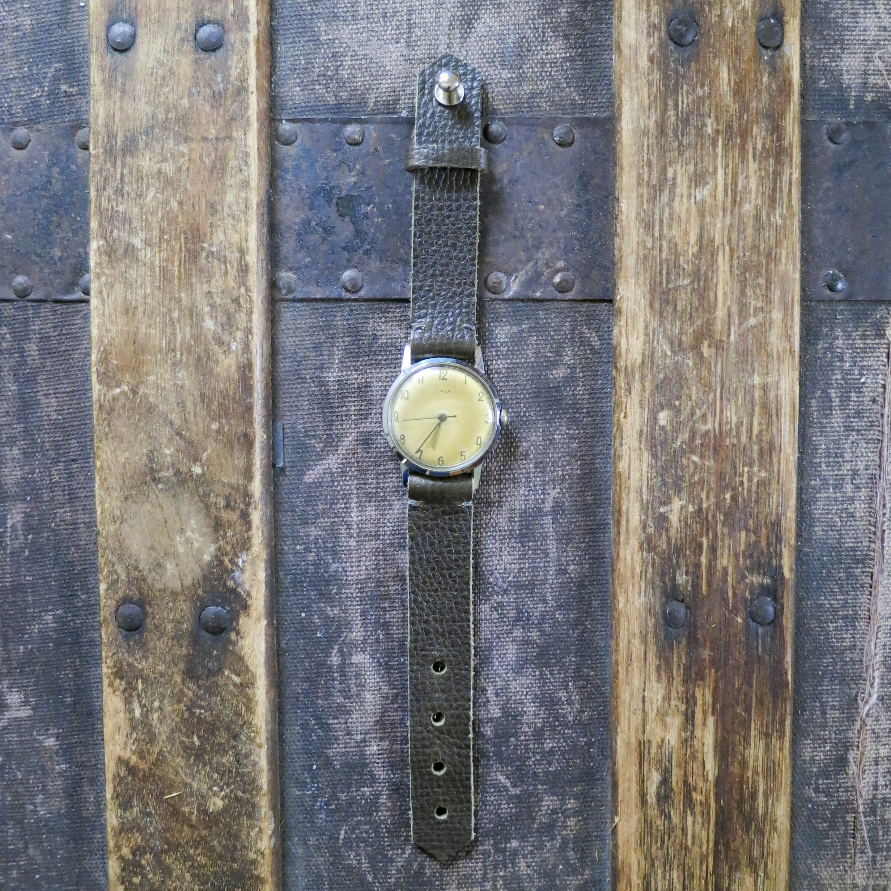 Re Purposed Vintage Watch with Leather Strap – Olive Brown – $70