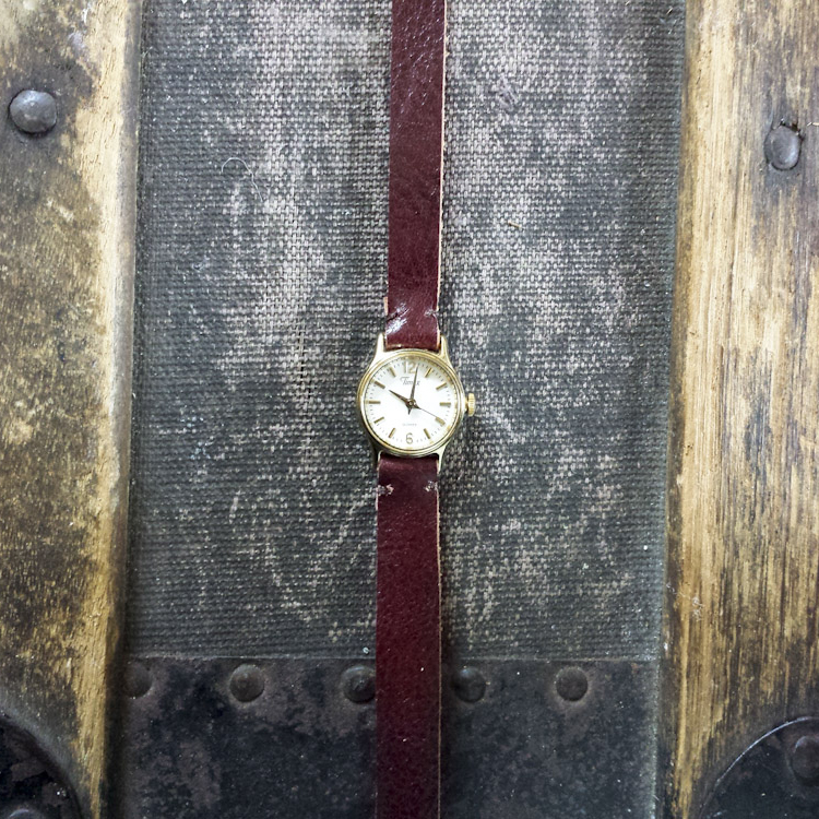 Re Purposed Vintage Wrap Watch with Leather Strap – Oxblood – $80
