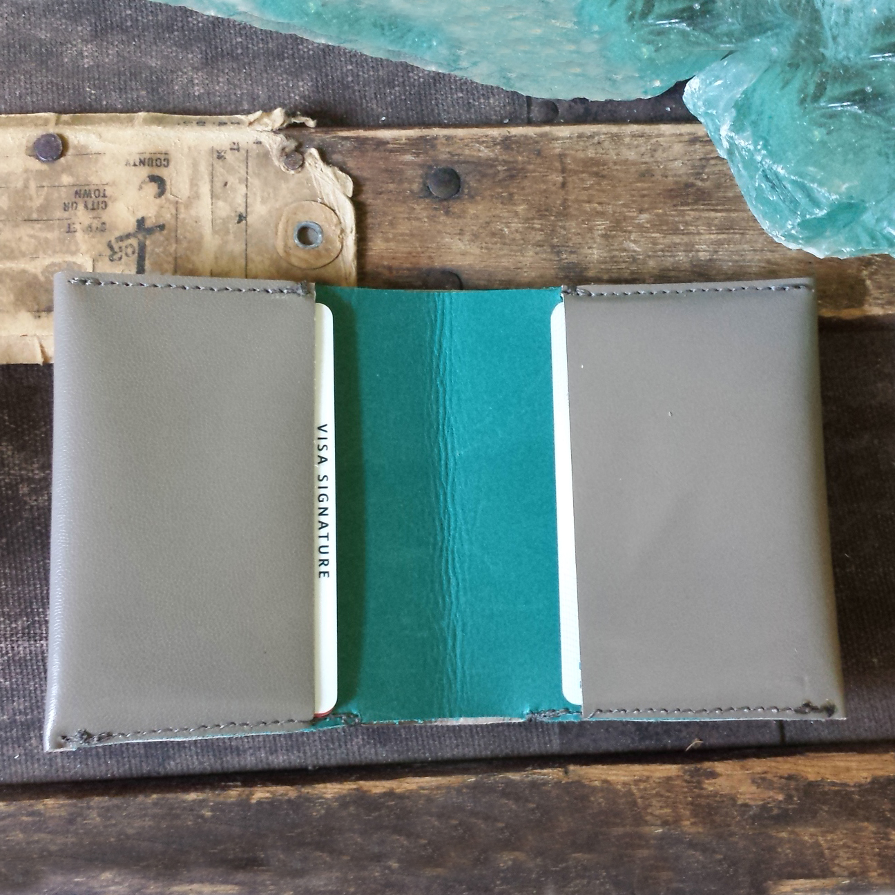 Leather Billfold Wallet – Grey and Teal – $65