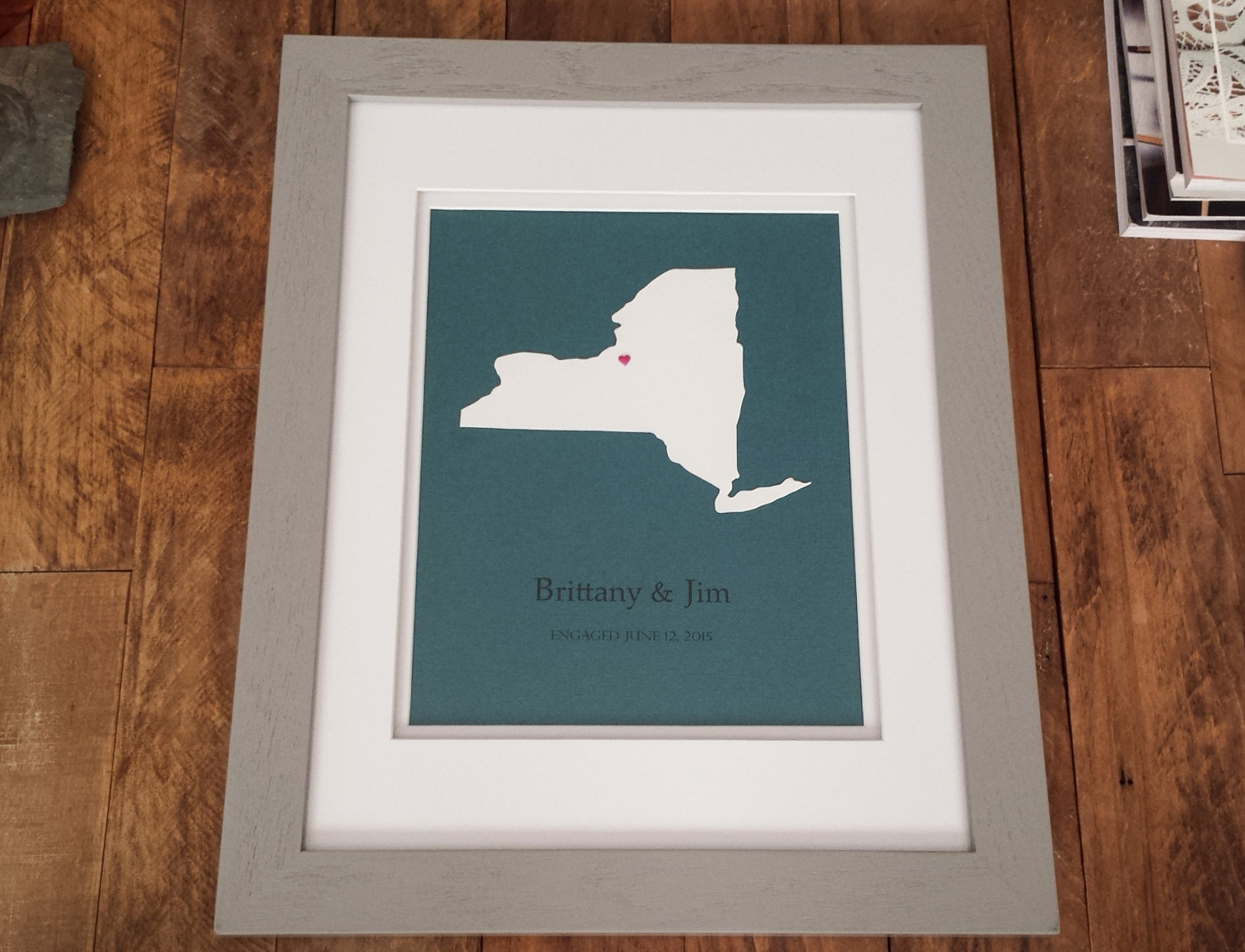 Framed State Engagement Gift