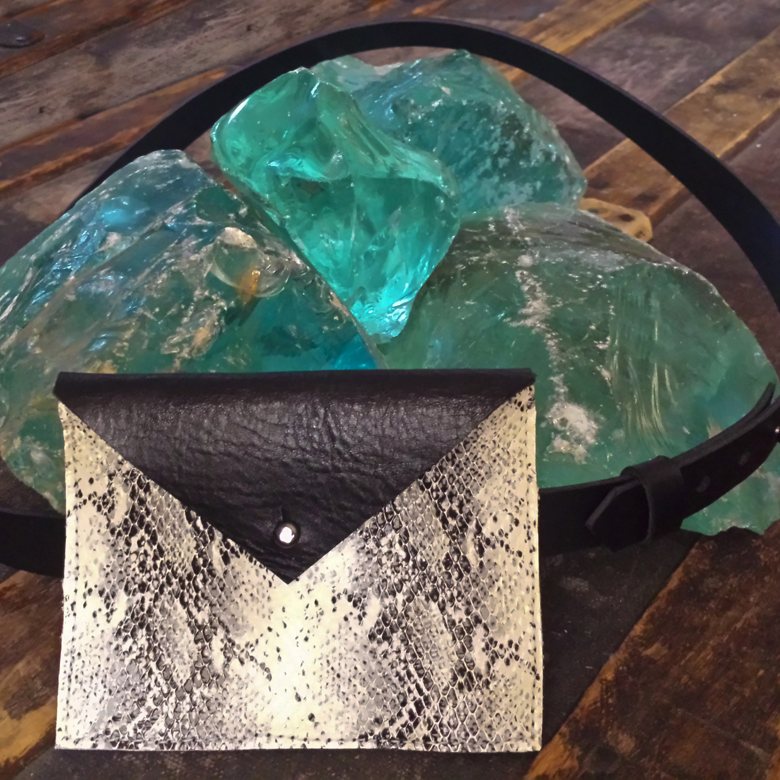 Leather Belt Bag – Black & Snake Leather- $85