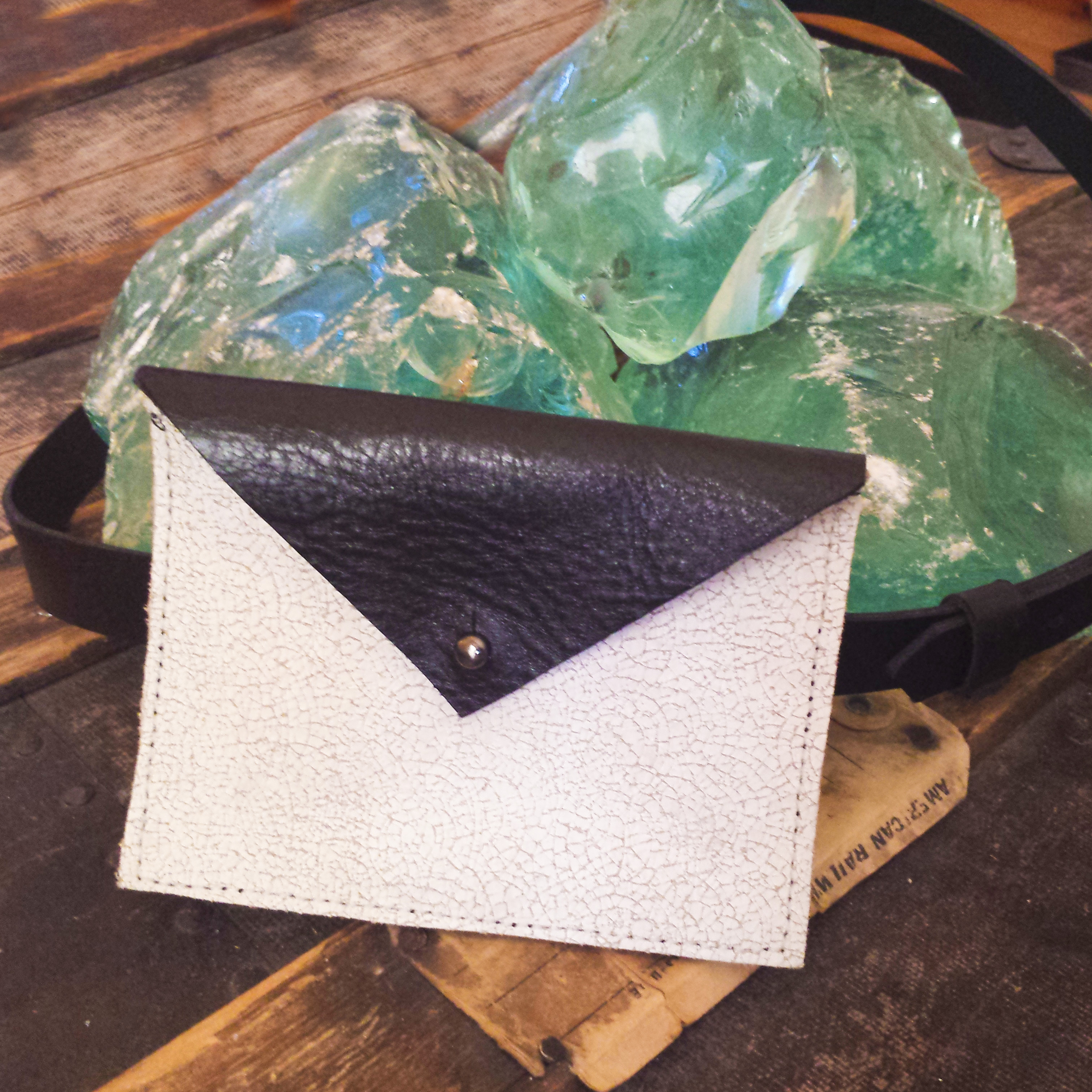 Leather Belt Bag – Black & White Distressed Leather- $85