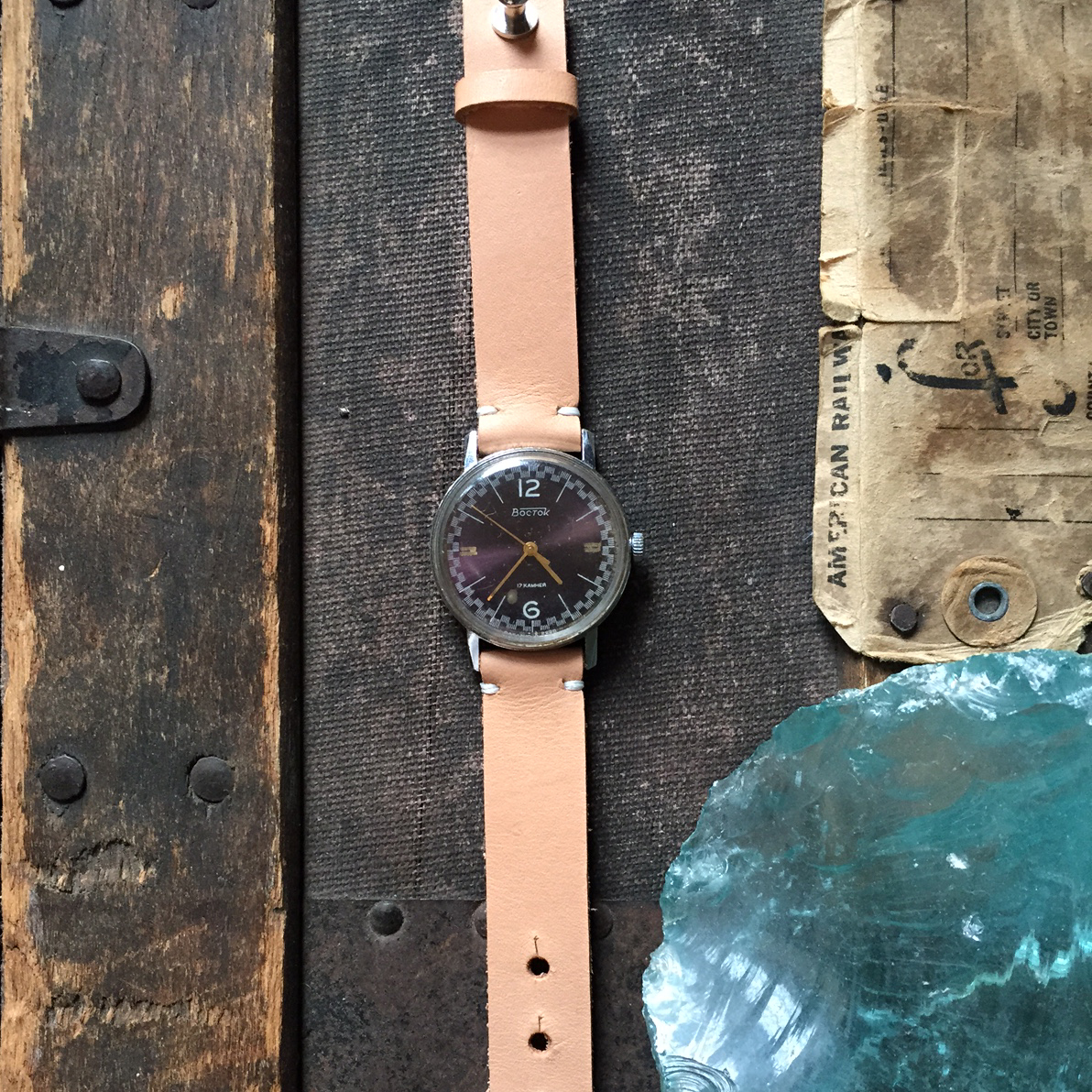 Re Purposed Vintage Watch with Leather Strap – Natural – $70