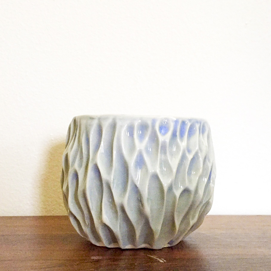 Small Hand Carved Ceramic Pot – $10