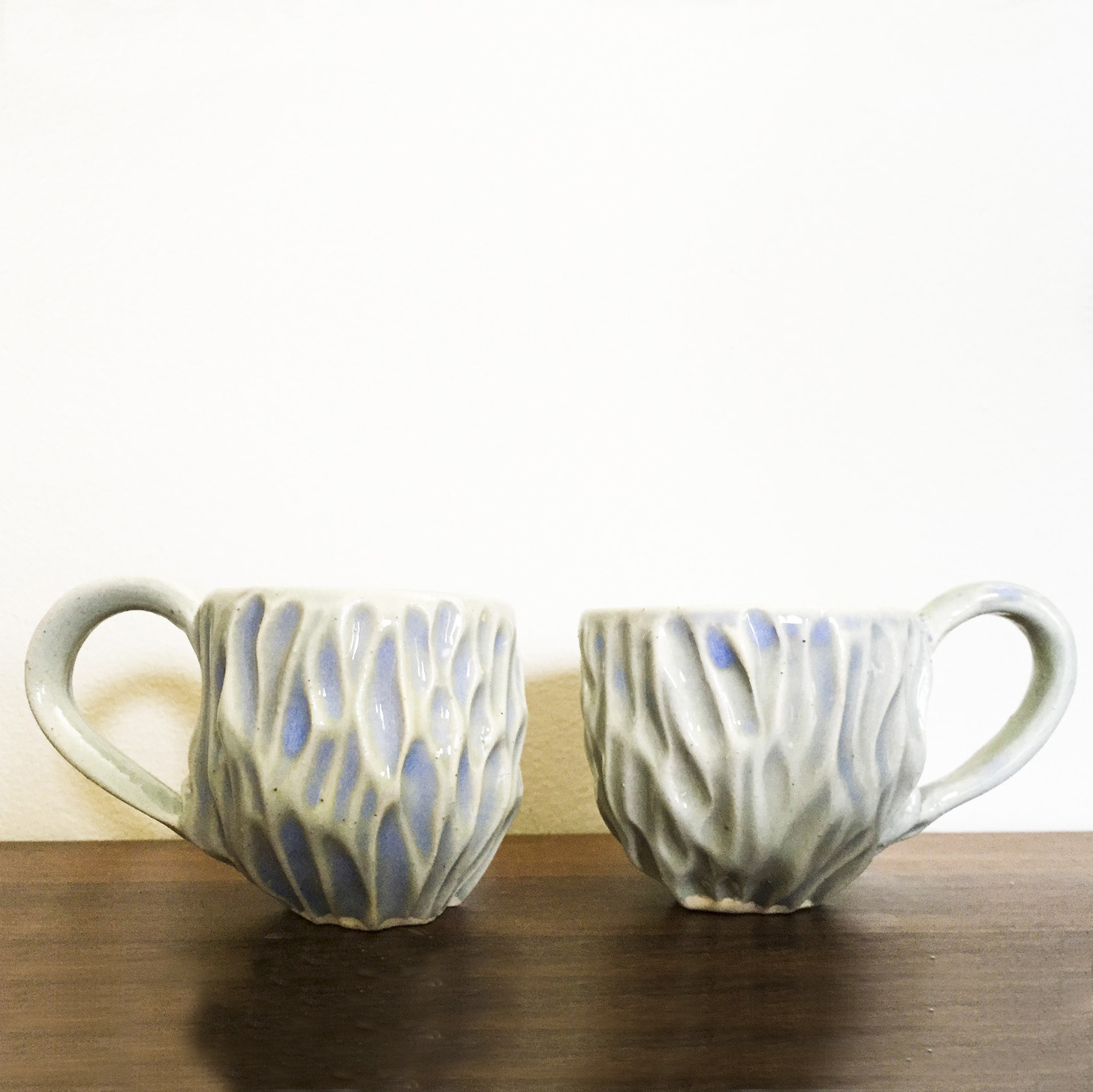Small Hand Carved Ceramic Espresso Cups – Second – $10