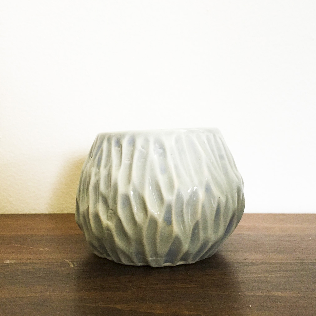 Small Hand Carved Ceramic Pot – Second – $5