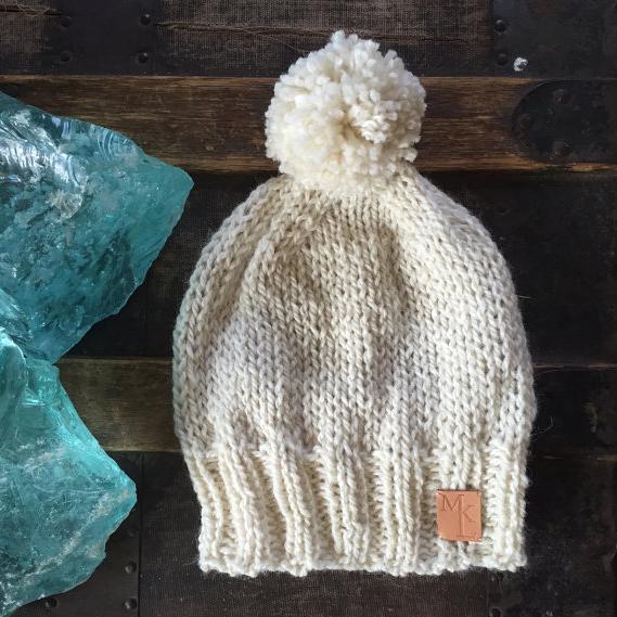 Hand Knit Alpaca Hat – Ivory – $39